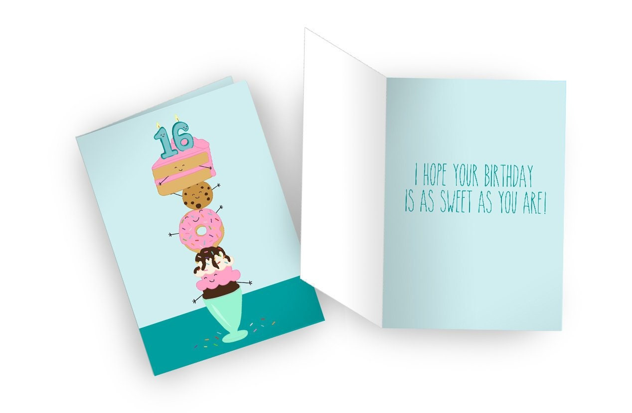 Sweet 16 Birthday Digital Download Printable Card Pdfs And Etsy
