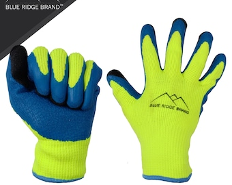 Blue Ridge Brand Winter Latex Work Gloves - 7 Gauge Polyester Cold Weather Glove - High Visibility Rubber Grip Gloves - Men's Work Gloves