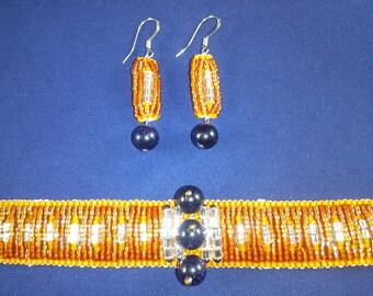 Bead woven Bracelet and Earrings with Swarovski Crystals/ Beaded bracelet