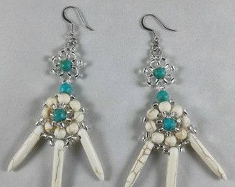 Natural Turquoise Bead Woven Earrings/ natural white turquoise beaded earrings.