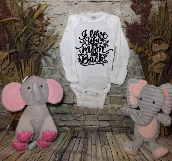 change colours Baby/'s Embroidered Bodysuit I love you to the moon and back