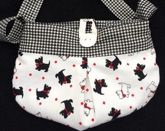 Little girls purse pocketbook tote bag black and white Scottie dogs