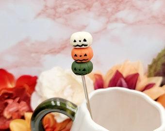 "Pumpkin Stack Stir Stick| 6"" Paddle Swizzle Stick| Halloween Party Decorations| Tea Stirrer| Pumpkin Accessories| Handmade Kawaii Accessory"