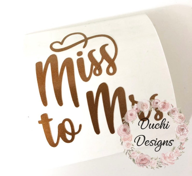 Miss to Mrs Decal Miss to Mrs Wine Glass Decal Miss to Mrs image 0