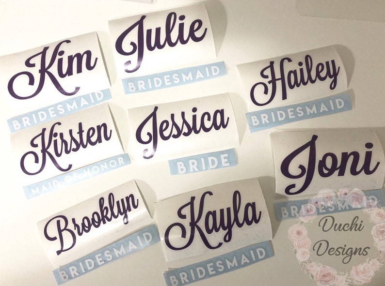 DIY Custom Stemless Wine Glasses Decal Bridal Party Gifts image 0