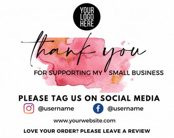 Thank You For Your Order Small Business Thank You Card Thank you for supporting my small business Editable thank you card for small business