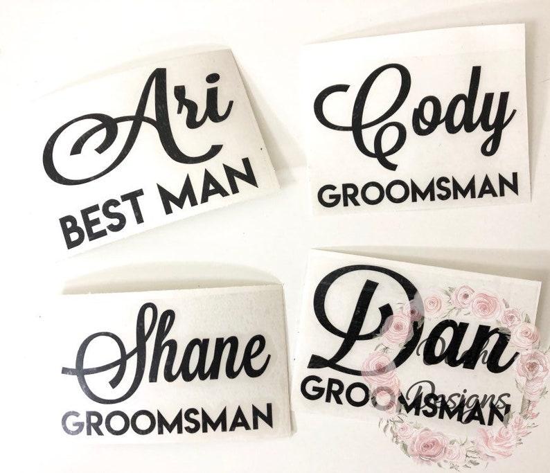 Groomsman Decal Groomsmen Stemless Wine Glass Decals Wedding image 0
