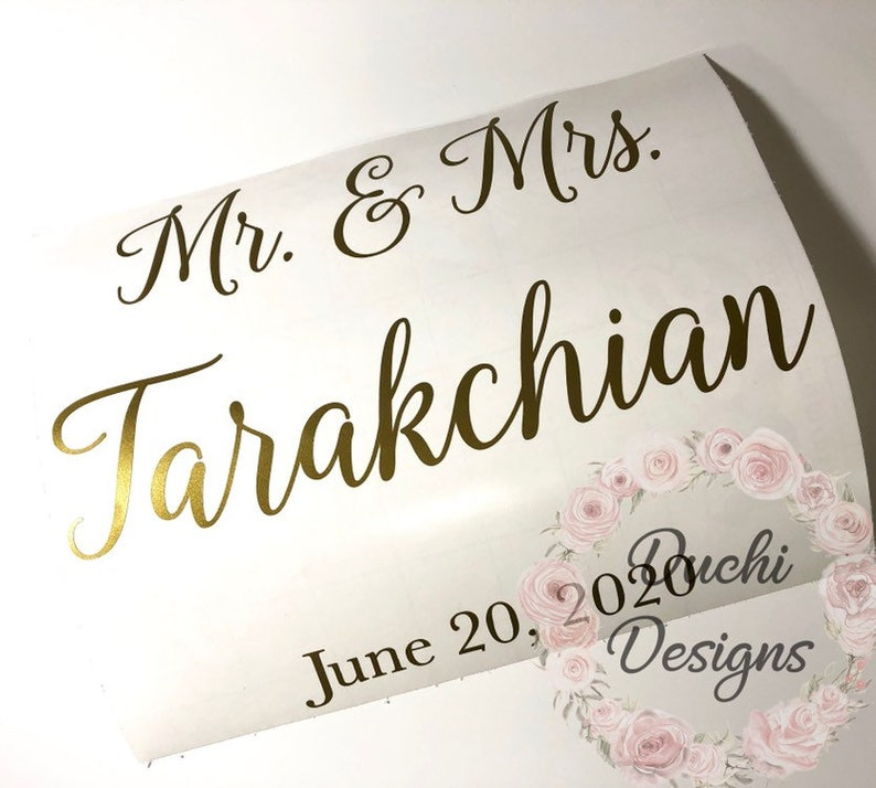 DIY Mr and Mrs Last Name and Wedding Date Decal Mr & Mrs image 0