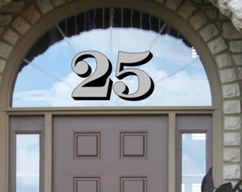Interior Application Metallic Gold Silver Transom Glass Number Decals, Transom Window Numbers, Vintage Victorian Historic House Number decal