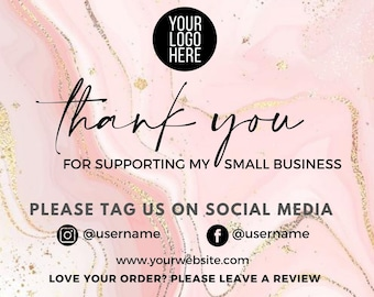 Editable Business Thank You Card Template, Etsy Seller Thank You Card Printable, Packaging Inserts, Printable Packaging Inserts, Glitter