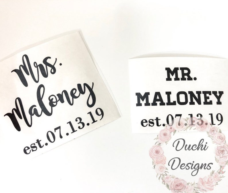 3x3 Mr & Mrs Last Name with Date Custom Text Wine Glass Decal image 0