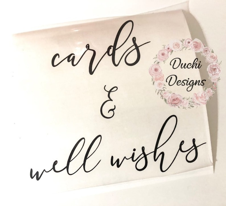 DIY Cards and Well Wishes Decal for Acrylic Wedding Card Box image 0