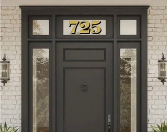 Exterior Application Metallic Gold Silver Transom Glass Number Decals, Transom Window Numbers, Vintage Victorian Historic House Number decal