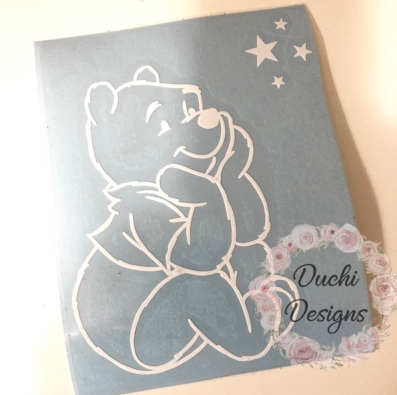 Winnie the Pooh Decal Winnie the Pooh with Stars Car Decal image 0