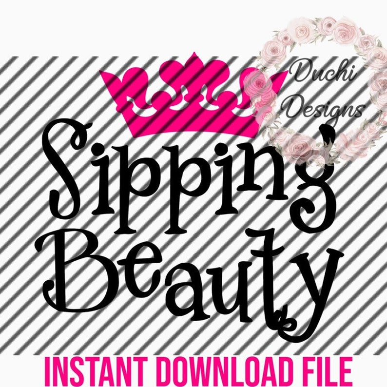 Instant Download Sipping Beauty SVG JPEG PDF for Stencil or image 0