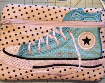 Handmade Converse shoe polka dot zipper bag