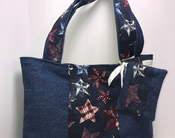 Americana Denim Tote with zippered coin pouch