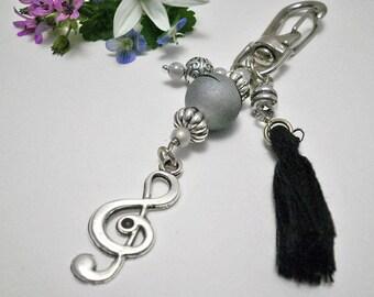 Treble Clef charm,handbag charm,treble clef key charm,keychain charm,purse charm,music note charm,zipper charm,music gift,bijou de sac