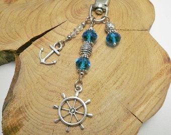 Ship wheel charm,wheel charm,handbag charm,anchor charm,wheel keychain,purse charm,bijou de sac,boat wheel charm,zipper charm,lucky gift
