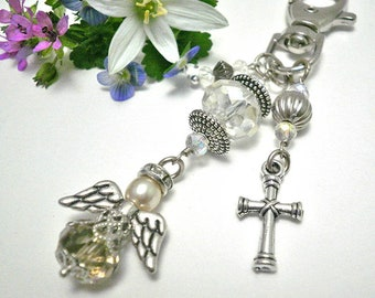 Angel charm,handbag charm,Quardian angel charm,keychain charm,purse charm,cross charm,angel keychain,zipper charm,angel gift,bijou de sac