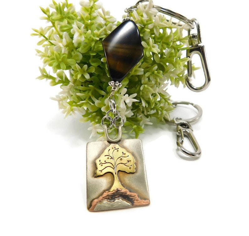 Woman Gift Key Holder Nature Gift Brother Gift Woman Bag Accessory Nature Keychain Tree Keychain Gift Tree Charm Landscape Jewelry