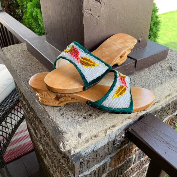 Vintage hand beaded platform clogs /& hand carved wooden sole mules