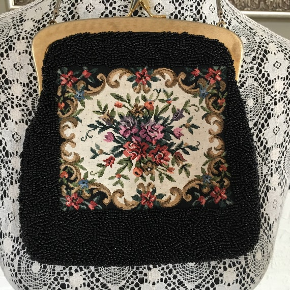 1950's vintage DuVal tapestry & hand beaded evenin