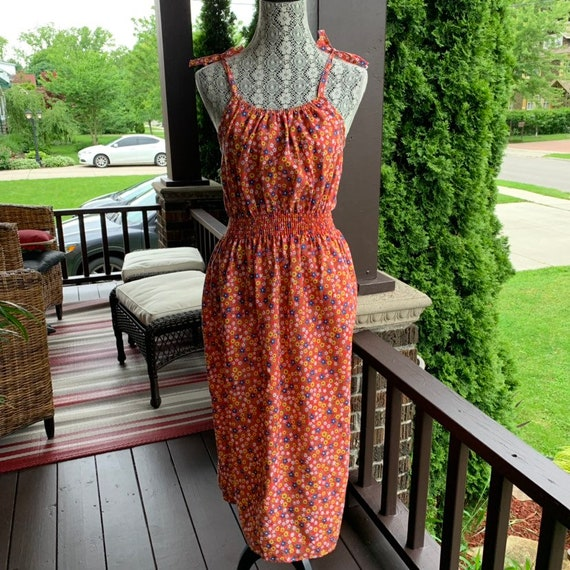 Vintage 1970s calico print slip dress