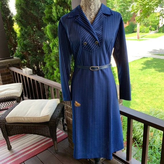 1940s 1950s blue and white pin striped military in