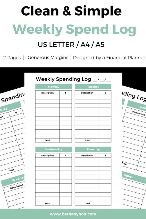 expense tracker spending log spending tracker weekly etsy