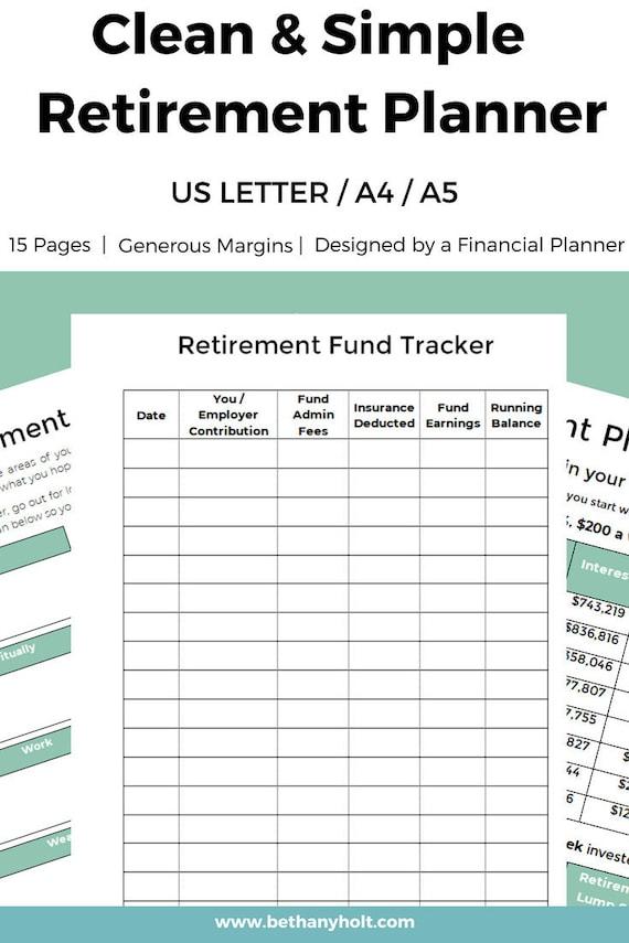 retirement planner planner retirement financial planner etsy