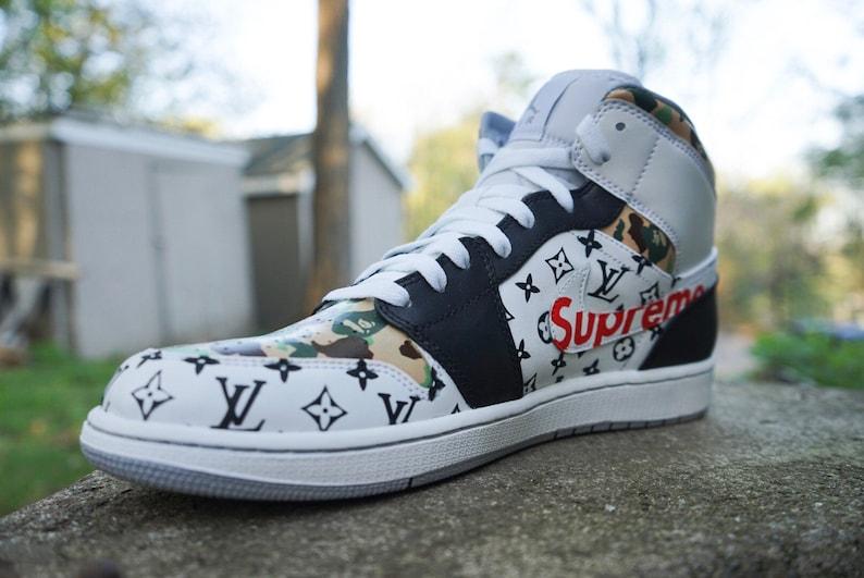9ff6a025df9 Bape x Supreme x LV Jordan 1 custom