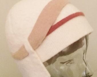 Ivory Cream Asymmetrical 1920's high-style Cloche