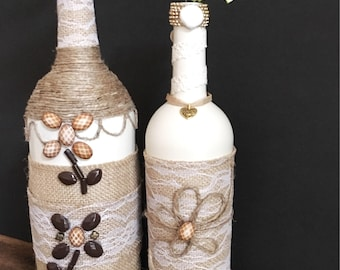 Home Decor-Painted glass-Handcrafted-Cream Colored-Up-Cycled Wine bottle-Burlap-Lace-beads-sea-shells-home decor one-of-a-kind-heart pendant