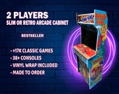 """2 Player RETRO or SLIM  32"""" Arcade Cabinet with Thousands of games and Vinyl WRAP ready to play!"""