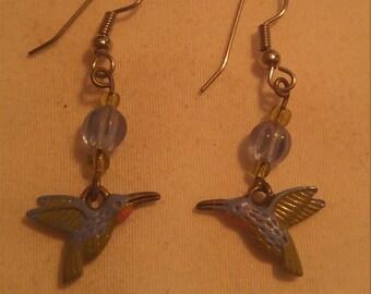 handmade hummingbird earrings pierced earrings hummingbird jewelry