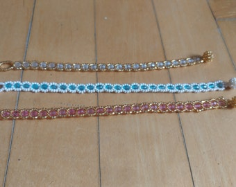 Multi colored beaded glass handmade bracelet with toggle clasp