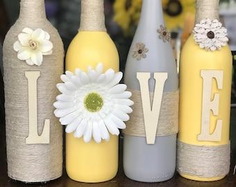 Wine Bottle Decor, LOVE