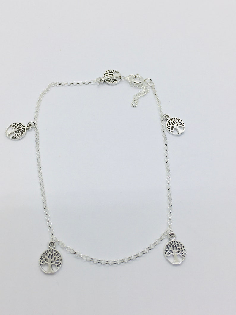 Solid silver ankle chain bracelet with charm trees of life Thanina jewelry