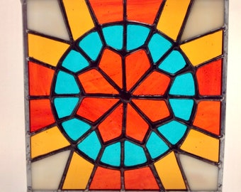 6cd0754e853f Geometric stained glass suncatcher panel that pops with colour