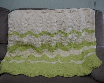 Knitted Fading Waves Blanket Afghan
