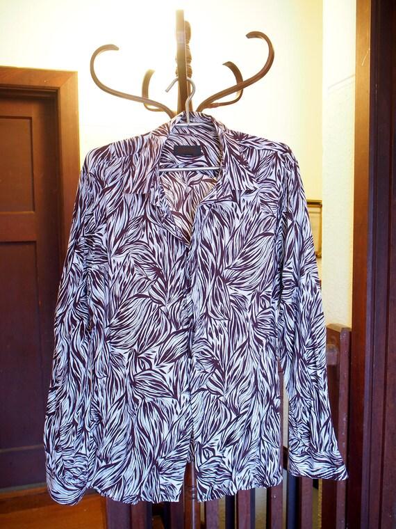 Zébrures de brun et blanc mens robe chemise taille XL