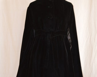 Vintage Black Velvet Belted Cape