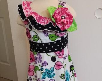 SPRINGTIME PARIS Boutique Little Girl's Dress Handmade Custom OOAK Size 5 Kid's Clothing