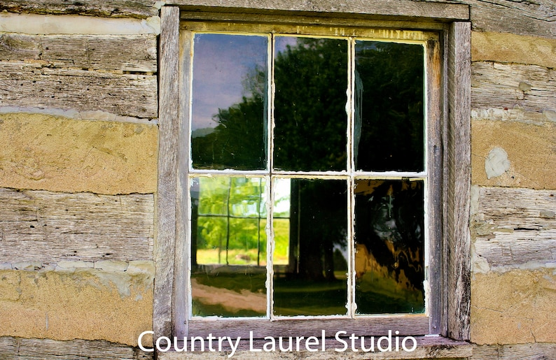 photograph about Printable Window identified as Cabin Window-immediate obtain,picture printable window, aged farm household, reflections, Log Cabin Prints