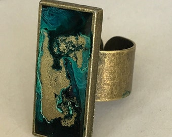 Ink Art in Resin Ring- adjustable