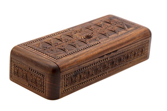 Nice Jewelry box for gift carved woodcarving handmade jewelry box with ornaments gift for women for girl Armenian master walnut wood