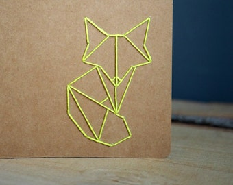 Hand embroidered Moleskine notebook A5 with origami-Fox