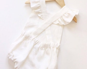 fa672796aaca Linen Baby Romper - Linen Toddler Romper - Vintage Baby Romper - First  Birthday Outfit - Newborn Photography Outfit - Linen Baby Clothing
