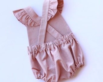 60d46124896d Linen Blend Baby Romper Linen Toddler Romper Vintage Baby Romper First  Birthday Outfit Newborn Photography Outfit Linen Romper